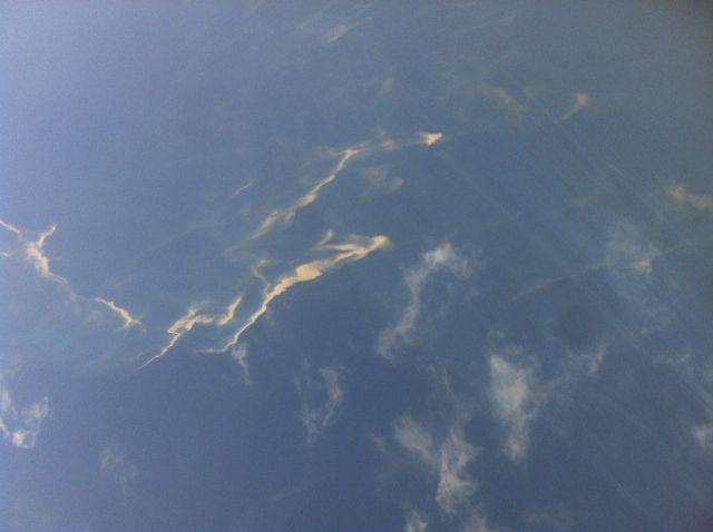 Luftaufnahme von Ölspuren im Meer 250 Kilometer vor Vietnam