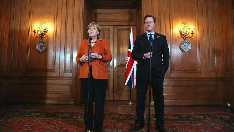 """Kanzlerin Merkel (l.), Cameron: """"Freizügigkeit nicht verhandelbar"""""""
