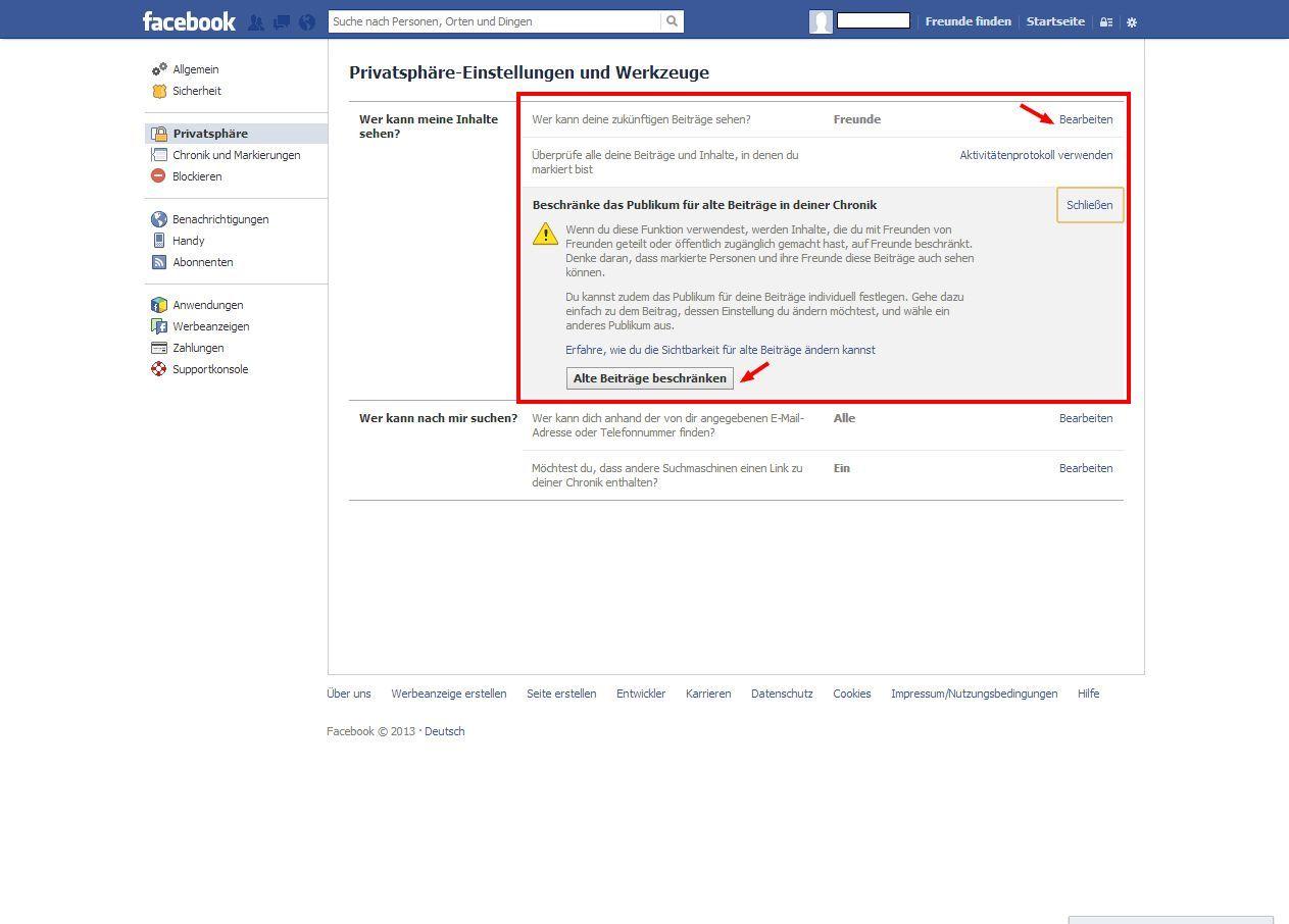 SCREENSHOT 06 Facebook/ Beiträge nachträglich