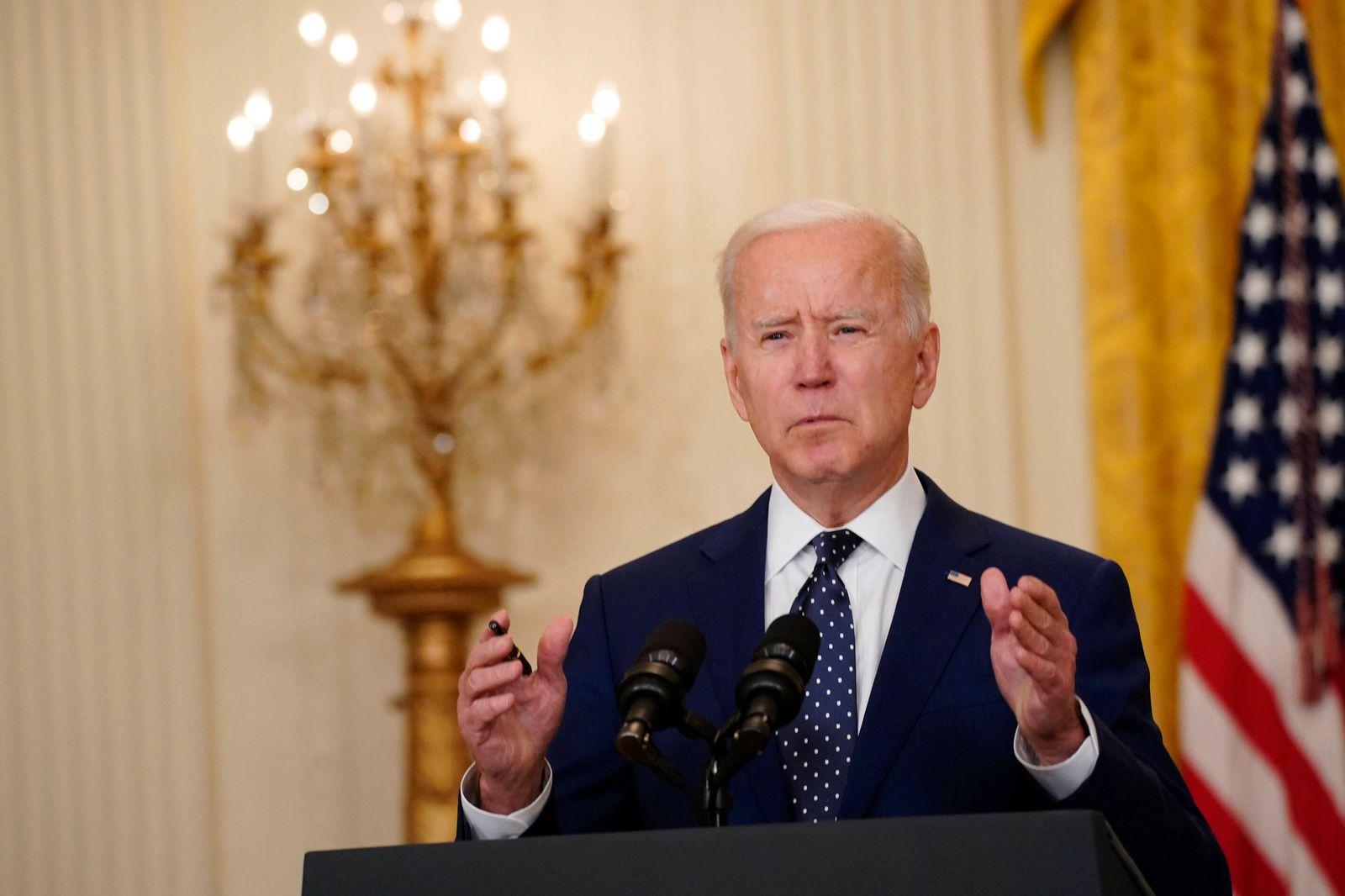 April 15, 2021, Washington, District of Columbia, USA: U.S. President Joe Biden speaks in the East Room of the White Ho