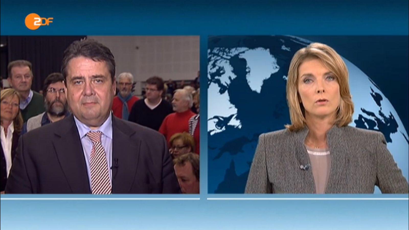 EINMALIGE VERWENDUNG Screenshot ZDF / Sigmar Gabrie / Slomka