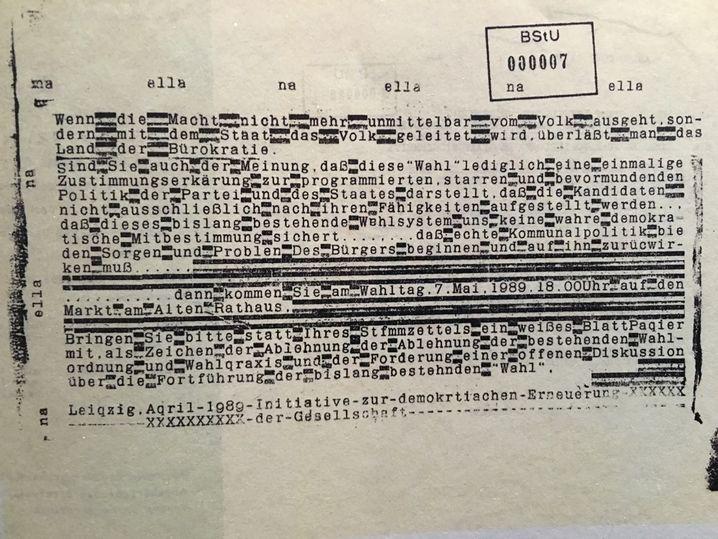 Mit Bleilettern gedruckt: Demo-Aufruf zur Wahl am 7. Mai '89