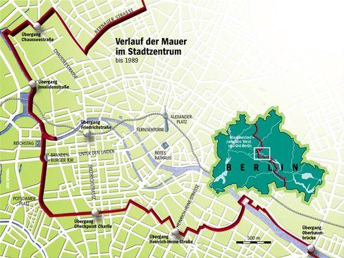Verlauf der Mauer im Berliner Stadtzentrum