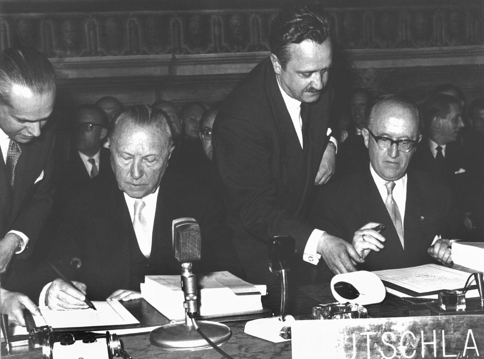 Unterzeichnung der Römischen Verträge 1957 in Rom