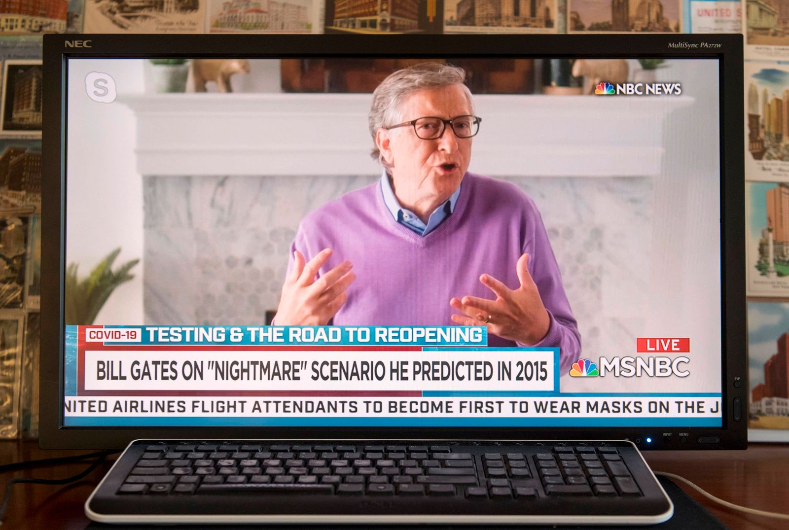 Coronavirus in den USA, Bill Gates im TV Interview April 23, 2020 - New York, New York - U.S. - A screen grab of a NBC s