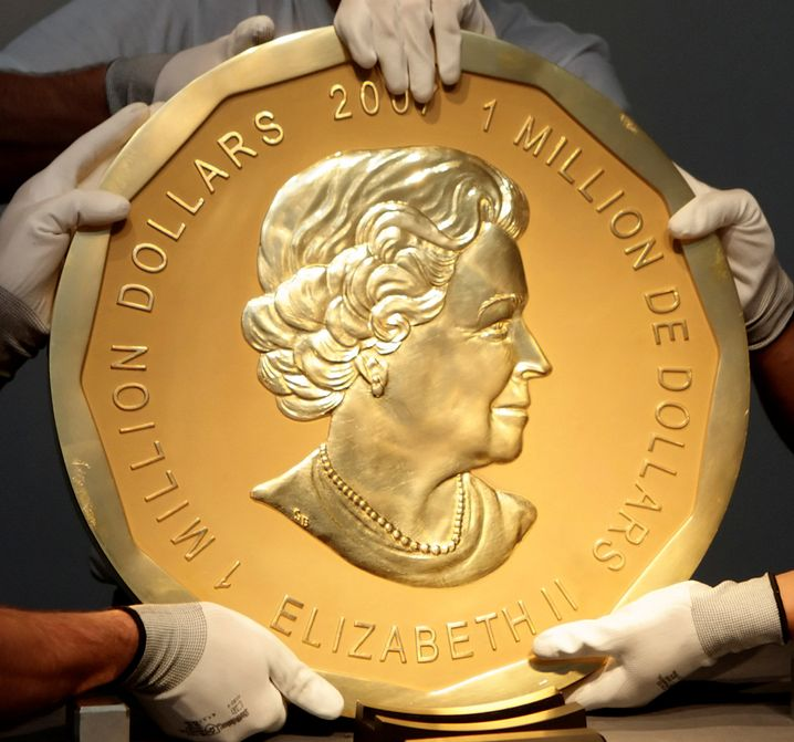 """Eine von weltweit fünf """"Big Maple Leaf""""-Münzen (Foto von 2010)"""