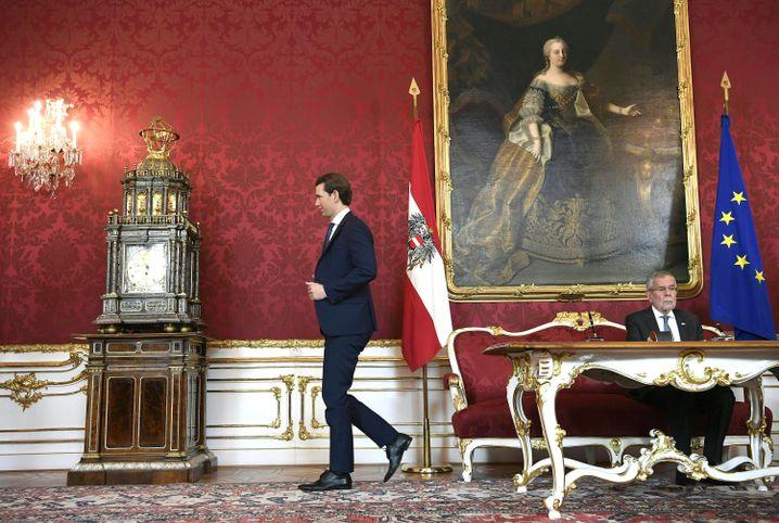 Österreichs Ex-Bundeskanzler Sebastian Kurz (ÖVP) und Bundespräsident Alexander Van der Bellen (Archiv)