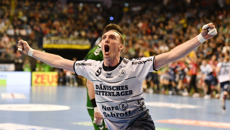 Holger Glandorf bei seinem nun offiziell letzten Handballspiel am 8. März 2020 gegen die Füchse Berlin