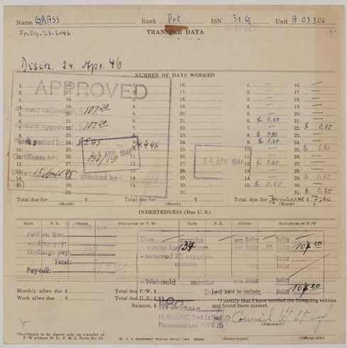 US-Army-Formular: Wehrsold akribisch festgehalten