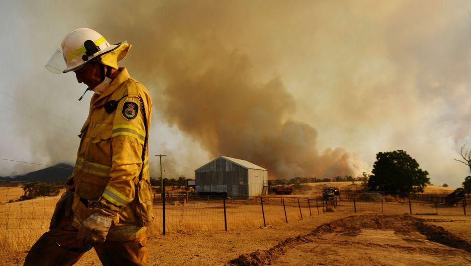 Feuerwehrmann bei Tumburumba (am 11. Januar): Dürreperioden erhöhen die Wahrscheinlichkeit für Waldbrände