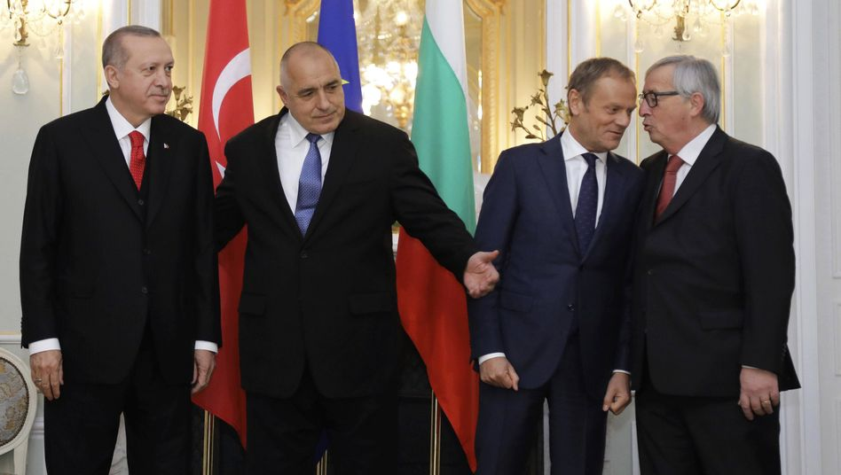 EU-Türkei-Gipfel in Bulgarien, Recep Tayyip Erdogan, Boiko Borissow, Donald Tusk und Jean-Claude Juncker