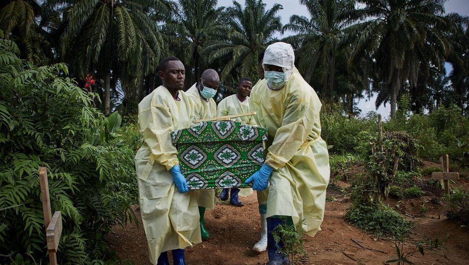 Helfer tragen den Sarg eines Ebola-Opfers zu Grabe, Aufnahme aus Beni