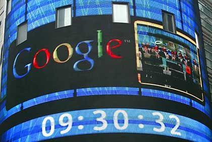 Nasdaq-Screen in New York: Google kommt