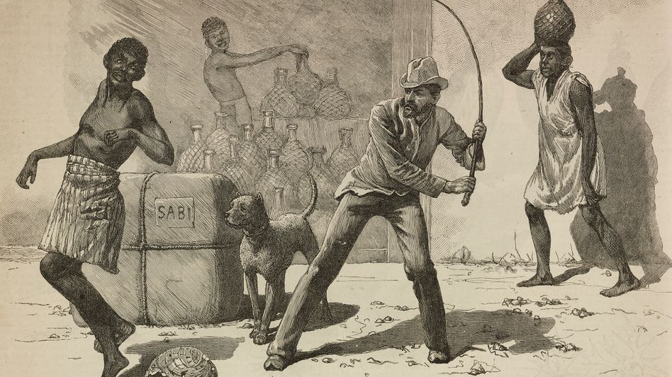 Die Anlässe für heftige Strafen waren oft banal, nicht nur in deutschen Kolonien. Hier wurde ein Afrikaner in der portugiesischen Kolonie Mosambik wegen Alkoholhandels bestraft (Stich aus »The Illustrated London News« 1890).