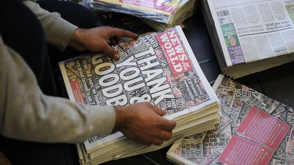 """Letzte """"News of the World""""-Ausgabe, Juli 2011: Sechs Festnahmen wegen Abhörskandal"""
