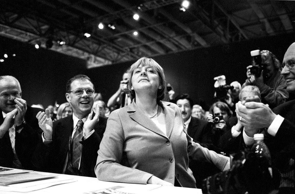 Angela Merkel after being re-elected as head of the CDU in 2002.