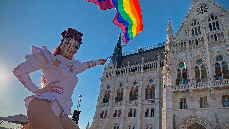 Ab sofort verboten: Dragqueen auf einer LGBT-Demo vor dem ungarischen Parlament (Archivbild von 2020)
