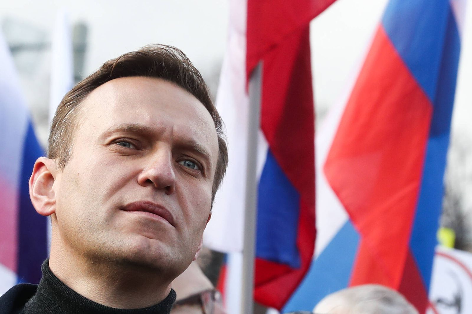 MOSCOW, RUSSIA - FEBRUARY 29, 2020: Opposition activist Alexei Navalny takes part in a memorial march marking the 5th a