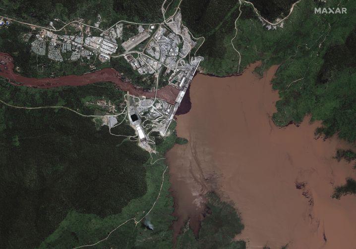Satellitenaufnahme des äthiopischen Staudamms
