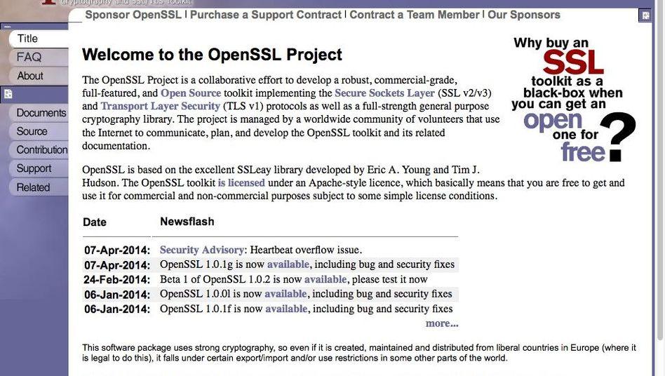 OpenSSL-Webseite (Archivbild): Der jetzt entdeckte Fehler schlummert seit Jahren in der Software
