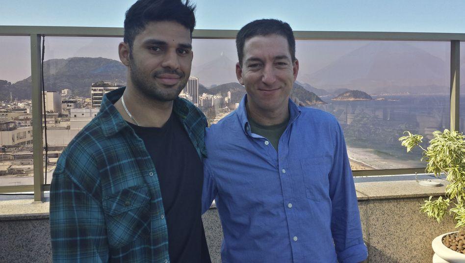 """Journalist Greenwald (rechts), Partner Miranda: """"Schwerer Angriff auf die Pressefreiheit"""""""