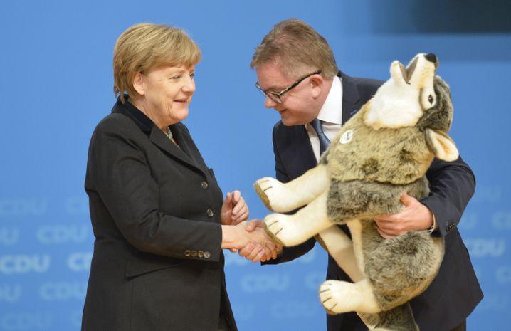 Merkel und Baden-Württembergs Spitzenkandidat Guido Wolf: Ein Plüschtier für die Kanzlerin