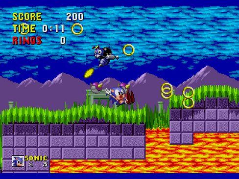 Bei einem Zusammenstoß mit Feinden verliert Sonic seinen gesamten Vorrat an Ringen