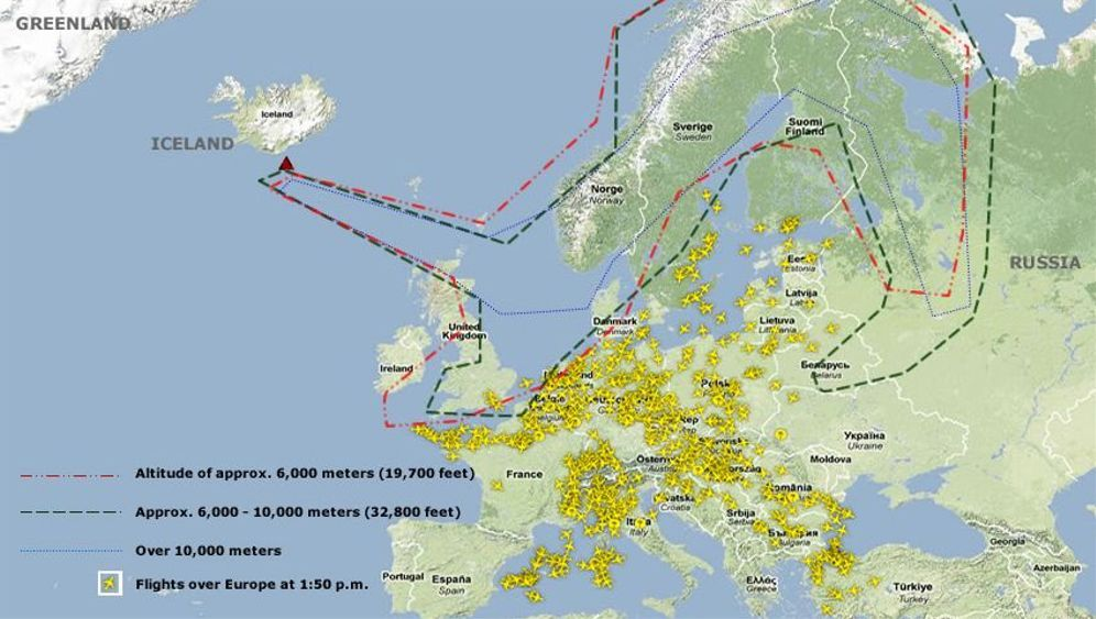 Photo Gallery: Estimated Coverage of Icelandic Ash Plume