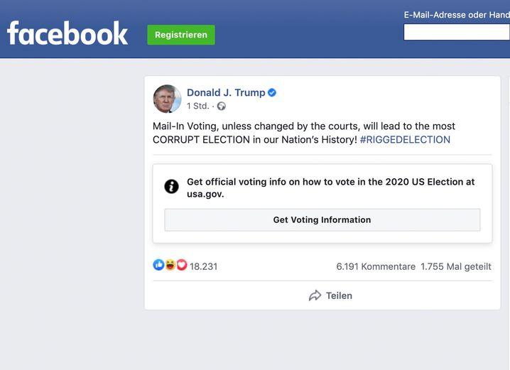 Facebook-Posting von Donald Trump: Mit einem Hinweis zur Wahl versehen
