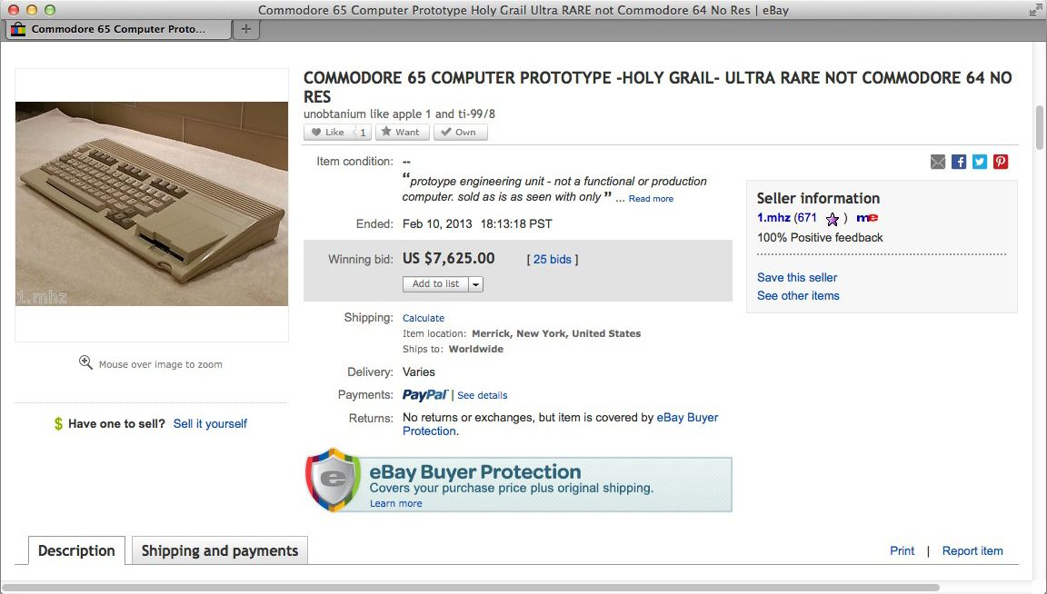 NUR ALS ZITAT Screenshot Commodore bei Ebay