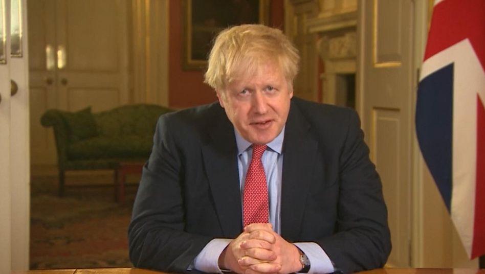 Boris Johnson in der Fernsehansprache an die Nation: Er verhängte eine Ausgangssperre
