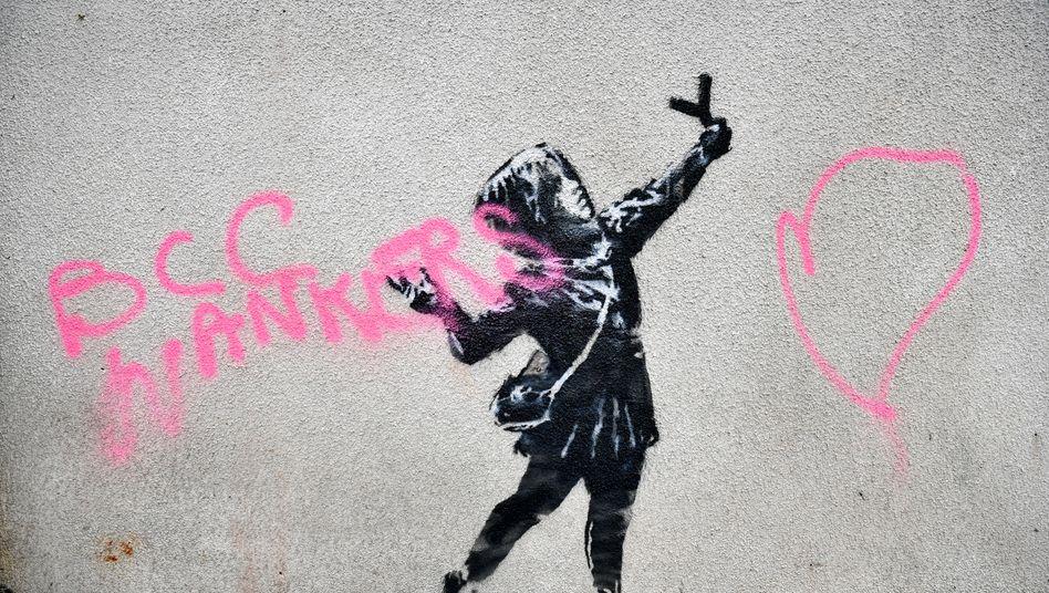 Wandgemälde zum Valentinstag: Banksy-Werk in Bristol beschmiert