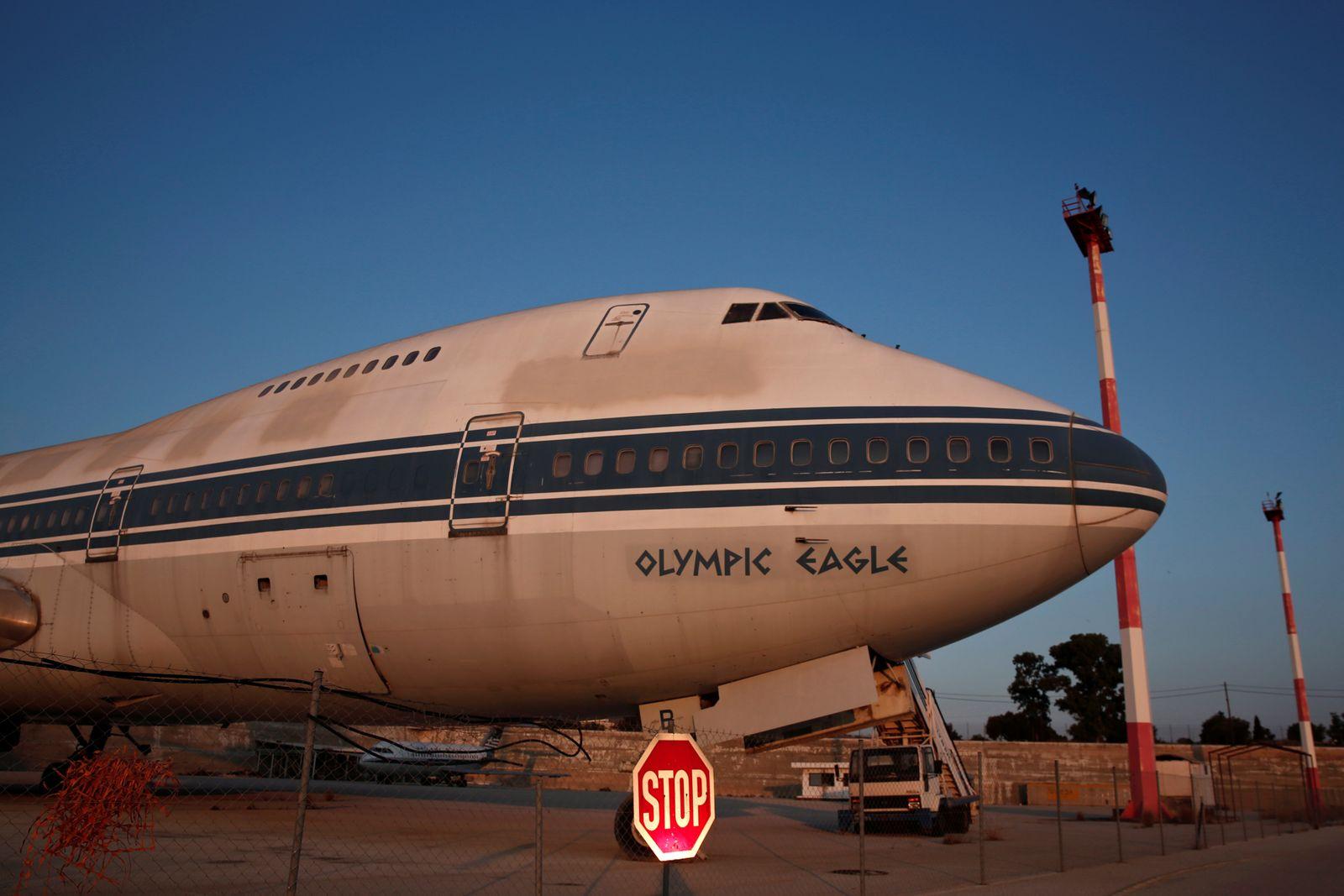 An Olympic Airways airplane stands on the premises of the former Athens International airport, at Hellenikon suburb, southwest of Athens