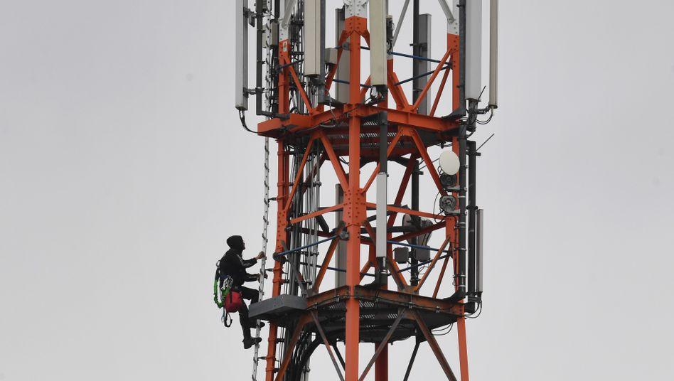 Techniker auf einem Funkmast: In der Bundesregierung gibt es Zwist um die Verwendung frei werdender Funkwellen im Frequenzbereich um 450 Megahertz (Archivfoto)