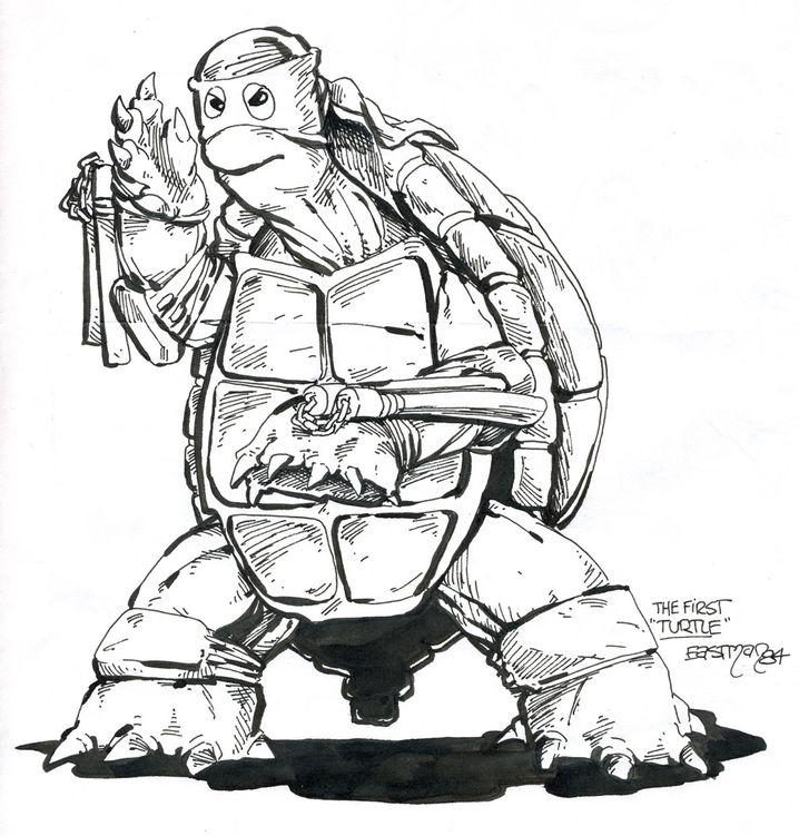 Ein Bild der ersten Turtles-Zeichnung von Kevin Eastman aus dem Jahr 1983.