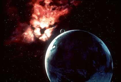 Asteroideneinschlag auf der frühen Erde (Zeichnung)