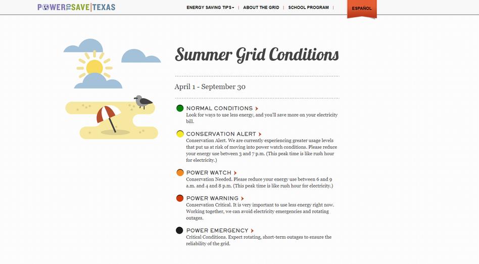 »Power to save Texas«: Der Screenshot zeigt die verschiedenen Alarmstufen für das texanische Stromnetz im Sommer