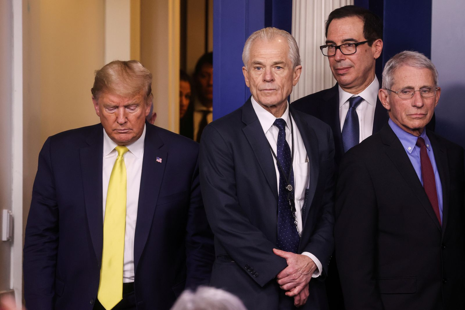 FILE PHOTO: U.S. President Donald Trump leads the daily Coronavirus-related briefing at the White House in Washington