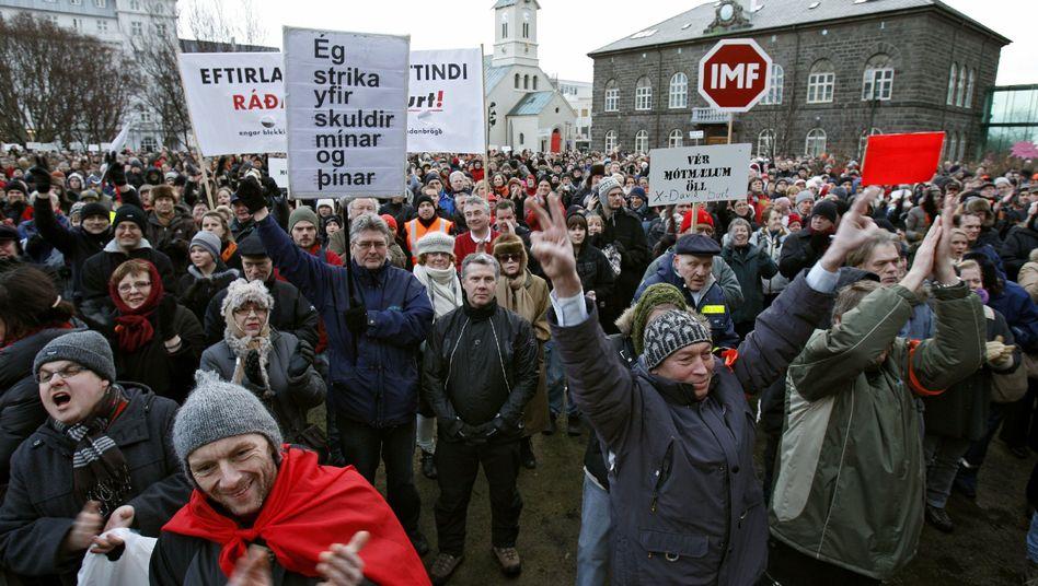 Protest in Reykjavík (Januar 2009): Aufgebrachte Bürger gegen die Folgen der Finanzkrise