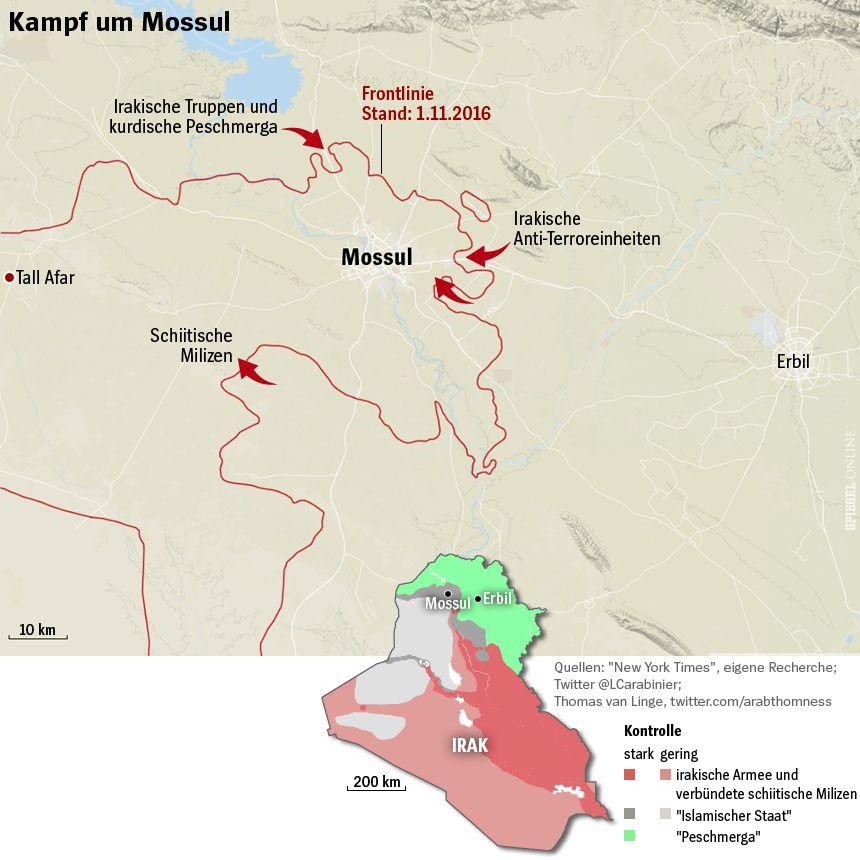 Grafik Karte Irak Mossul Frontlinie