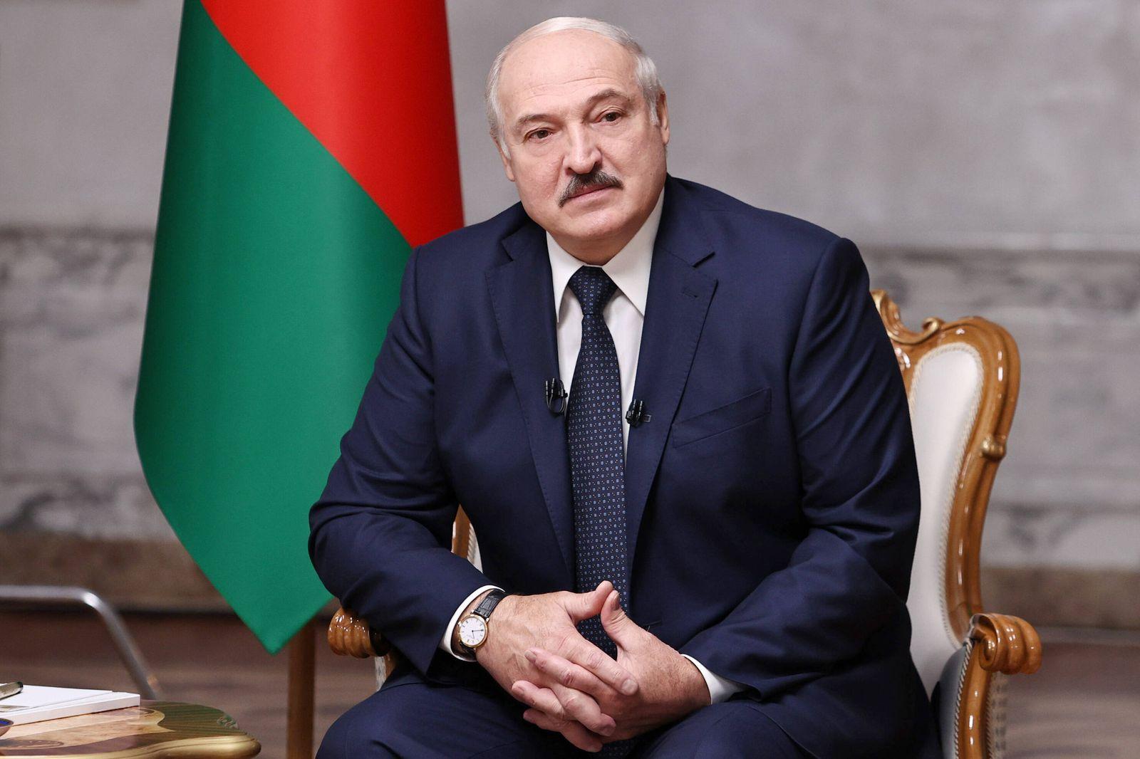 MINSK, BELARUS - SEPTEMBER 8, 2020: Belarus President Alexander Lukashenko gives an interview to leading Russian media