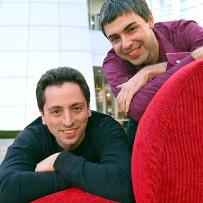 Google co-founders Sergey Brin (l) and Larry Page want to index the world's information.