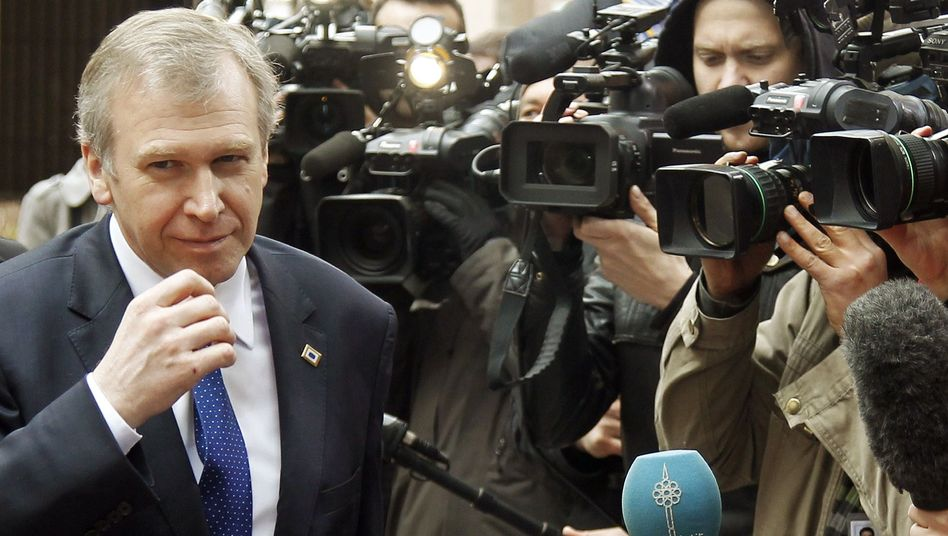 Belgium Prime Minister Yves Leterme arrived at an European Union leaders' summit on Libya and North Africa, in Brussels Friday.