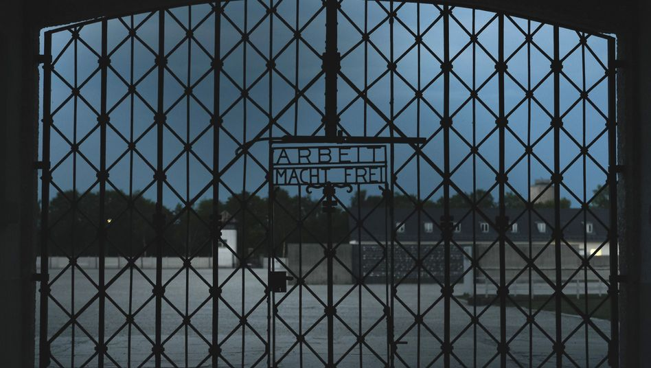 The entrance gate to the former concentration camp in Dachau.