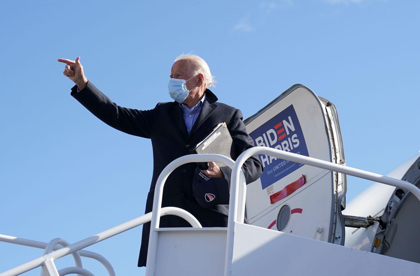 U.S. Democratic presidential candidate Joe Biden departs Wilmington, Delaware