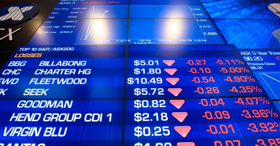 Shares on the Australia Stock Exchange, shown here, and Asian markets fell on Monday in reaction to Standard & Poor's downgrading of the US's credit rating.