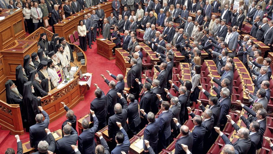 The new Greek parliamentarians were sworn in on May 17, but they won't be around for long -- new elections are set for June 17.