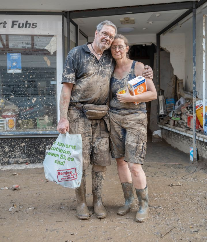 The flooding destroyed Manfred and Alexandra Fuhs' consumer electronics store in Ahrweiler, but they can still live in their second-floor apartment.