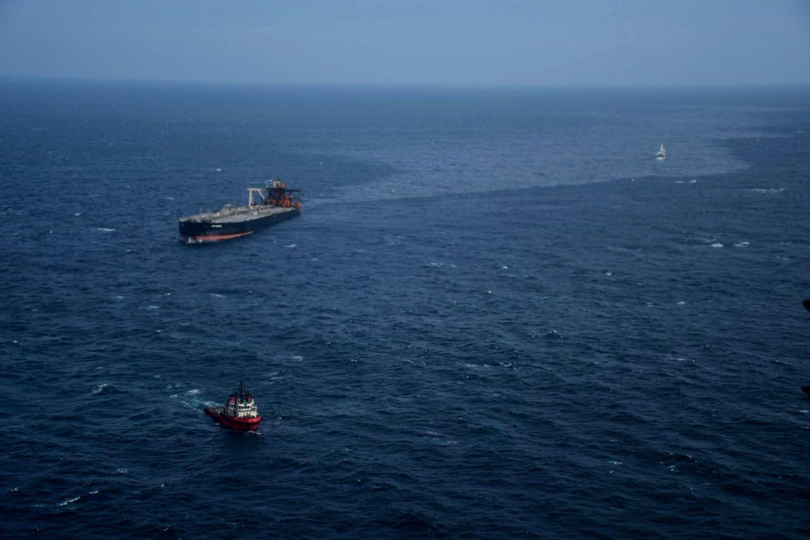 MT New Diamond on fire off the coast of Sri Lanka, At Sea - 09 Sep 2020
