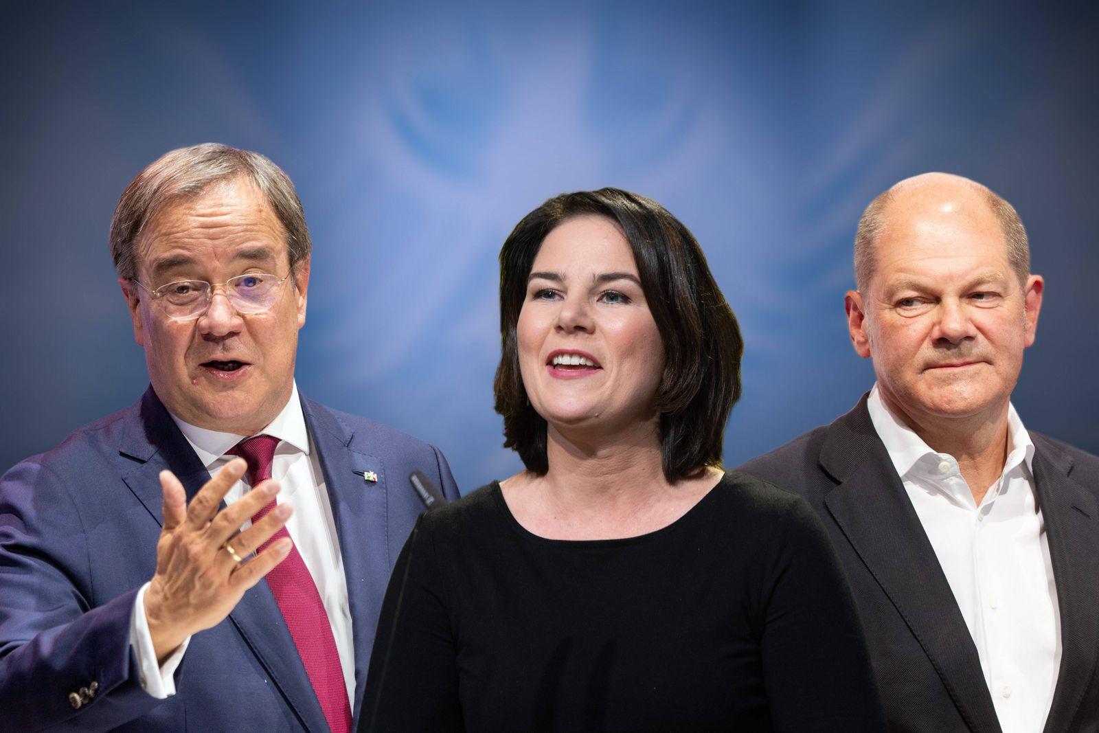 FOTOMONTAGE: Die Kanzlerkandidaten zur Bundestagswahl 2021: v.li:Armin LASCHET (CDU),Annalena BAERBOCK, (Buendnis 90/die